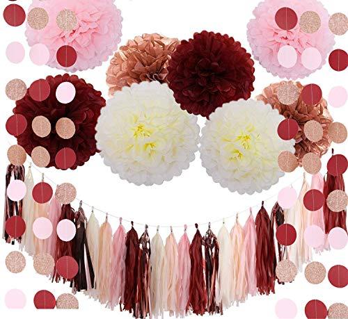 Erosion Bachelorette Partydekorationen Burgund Glitter Rose Gold erröten rosa Elfenbein Seidenpapier Blumen Quaste Garland Hochzeit Brautdusche Maroon Partydekorationen (39 Stücke) (Und Maroon Gold-pom-poms)