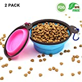 Almondcy Collapsible Travel Dog Bowl (2 Pack) - Premium Portable Foldable Pet Travel Bowl for Food & Water on Journeys - Food Grade Silicone BPA Free