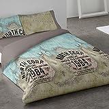 Burrito Blanco Bettbezug-Set 101 3 Teile (1 Bettbezug 1 Kissenbezug und 1 Spannbettuch) für Einzelbett 90x190 cm bis 90x200 cm Design Karte, Beige und Grau