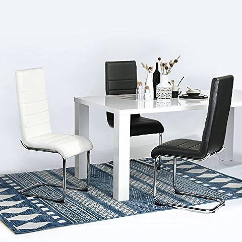 Chaises de salle à manger Fanilife Lot de 2Luxe élégant PU haute Dos et pieds chromés Salon salle à manger Chaises côté sièges pour cuisine salle à manger Blanc