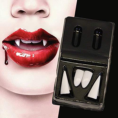 Prevently Halloween Zähne, 4 Pcs Vampirzähne Vampirgebiss Zahnersatz Halloween Prothese für Party Halloween Cosplay Requisiten Dekoration (Vampirzähne Kinder Halloween)