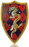 Holz-Schild Kinder Drachen-Motiv Ritter-Schild 48cm x 35cm Holz-Spielzeug Ritter-Rüstung