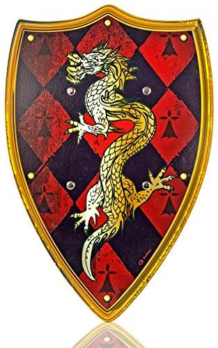 Holz-Schild Kinder Drachen-Motiv Ritter-Schild 48cm x 35cm Holz-Spielzeug Ritter-Rüstung (Ritter Schild Kostüm)