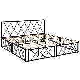 [en.casa] Metallbett 180x200cm Schwarz mit Lattenrost Kopfteil Doppelbett Ehebett