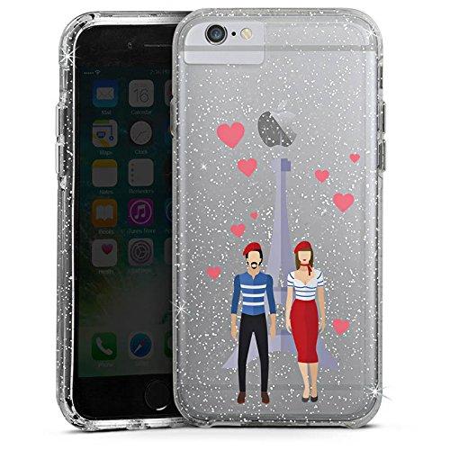 Apple iPhone 7 Bumper Hülle Bumper Case Glitzer Hülle Paris Eiffelturm Liebe Bumper Case Glitzer silber