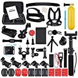 ccbetter 52 in 1 Accessories for Gopro Action camera mounts for Gopro Hero 7 hero 2018 hero 6 Hero 4 Hero 5 Session Hero 1 2 3 3+ for most of sports camera including Wrist Strap with Case (Black)