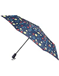 totes Auto Open Close XTRA STRONG Dotty Stripe Flowers Print Umbrella