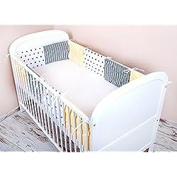 Tour de lit bébé Amilian® - 420x 30cm, 360x 30cm, 180x 30cm - avec emplacements pour oreillers 40 x 40 cm - Mix A3