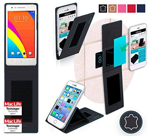 reboon Hülle für Oppo Mirror 3 Tasche Cover Case Bumper | Schwarz Leder | Testsieger