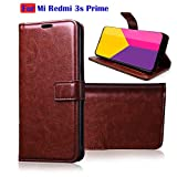 Fengshui Vintage Flip Cover Leather Case : Inner TPU, Leather Wallet Stand for Mi Redmi 3s Prime - Attractive Brown