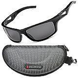ZILLERATE Polarisierte Sonnenbrille für Herren und Damen, UV Schutz, Leichter Unzerbrechlicher Rahmen, zum Radfahren Skifahren Autofahren Fischen Laufen Wandern Sport, mit Etui und Brillenbänder (Schwarz (Quadratischer Rahmen))