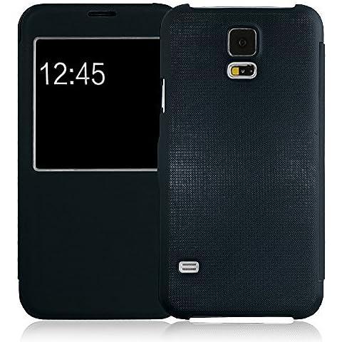 JAMMYLIZARD | Funda Tipo Libro Para Samsung Galaxy S5 / S5 Neo Flip Cover Con Cierre Magnético, AZUL