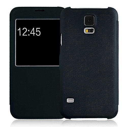Flip Cover Galaxy S5, JAMMYLIZARD Custodia in Poliuretano e Microfibra con Finestrella per Samsung Galaxy S5 e S5 Neo, BLU NOTTE