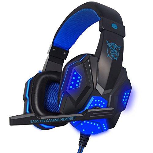 Surround Sound Gaming Headset Kopfbügel Kopfhörer LED mit Mikrofon USB 3,5mm für PC Gamer Liefern aus USA von bokeley Blau Blau -