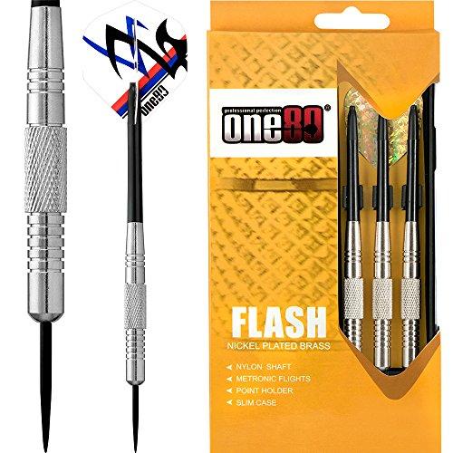 ONE80Soft-Dartpfeile Flash Dart-Edelstahl Spitze Messing Dartpfeile-vernickelt-22G-mit Darts Ecke gebogen Kugelschreiber