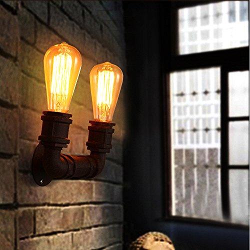 Brown retrò industriale Steampunk tubo ferro battuto parete lampada alta qualità scalinate decorazione parete luci Fit ristorante cucina Foyer camera da letto Bar Club hotel ingresso ufficio riunione Applique 2 luci E27