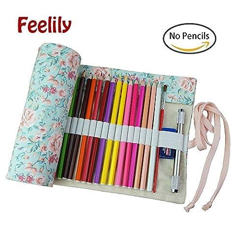 Feelily le plus élégant Canvas Pencil Wrap, 72 coloré Porte Crayon polyvalent Pochette pour Artiste (Crayon non inclus) (Blue background Roses)