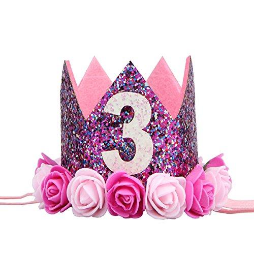 BESTOYARD Princesa Corona Cumpleaños para Bebé de Flor 3 Año Edad Rosado