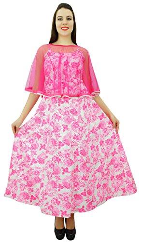 Phagun Coton Pleine Longueur Femmes Casual Robe Sans Manches Robe Casual - Choisissez Taille Blanc et Rose