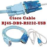 Cisco Câble De Console Câble Série Rj45 à DB9 et RS232 à USB (2 en 1) Pour Périphérique Cisco 1.8M + 1M