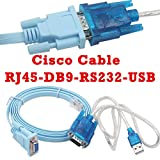 Cisco console cable Serial Cable Rj45 to DB9 & RS232 to USB (2 In 1) for Cisco device 1.8m+1M