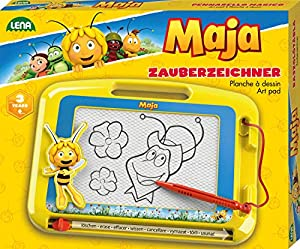 Lena 65687mágica etiquetadoras, pizarra mágica con abeja Maya, diseño magnético veces Pizarra Pizarra Mágica para niños a partir de 3años, (con lápiz y control deslizante, pizarra magnética para siempre nuevo para pintarlas, Amarillo, aprox. 22x 17x 2cm
