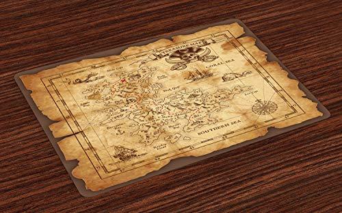 ABAKUHAUS Inselkarte Platzmatten, Super detaillierte Schatzkarte Grungy rustikale Piraten Goldgeheime See Geschichte Theme, Tiscjdeco aus Farbfesten Stoff für das Esszimmer und Küch, Beige Braun