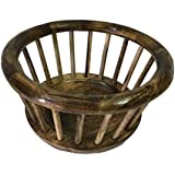 Nazarbattu Handicrafts Wooden Basket Made Of Cane and Wood Suitable For Dining Table Or for Storing Big Items (LxWxH - 12x12x7 inch