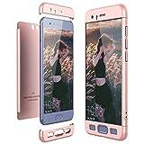 CE-Link Cover Huawei Honor 9 360 Gradi Full Body Protezione, Custodia Huawei Honor 9 Silicone Rigida Snap On Struttura 3 in 1 Antishock e Antiurto, Honor 9 Case Antigraffio Molto Elegante - Oro Rosa