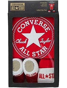 Converse Babykleidung Set Erstausstattung Baby Geschenkset Body Strampler Mütze Socken 3er Gift Set Rot Gr. 0-...