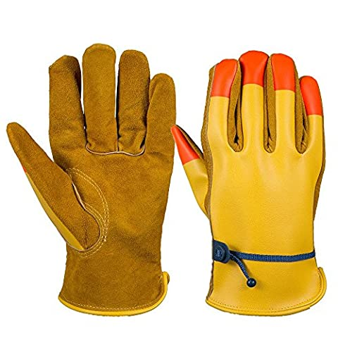 OZERO Cowhide Work Gloves, Geniune Cow Leather Garden Glove with Fluorescence Finger Tip - Adjustable belt - Durable PU Back, Fit for Men & Women 3 pairs Pack (Brown, Extra Large)