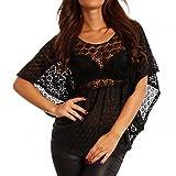 Young-Fashion Damen Shirt aus Häkelspitze Tunika Transparent mit Rückenausschnitt, Farbe:Schwarz;Größe:One Size (34/36/38)