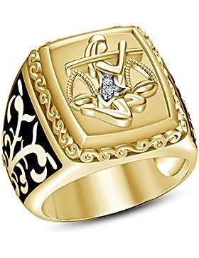 Lilu Jewels Herren 14K Gold Finish über 925Sterling Silber RD Cut CZ Sternzeichen Waage Band Ring