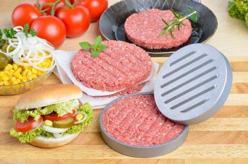 51ZHU4ci0oL - GRÄWE Burgerpresse mit 50 Blatt Backpapier, Hamburgerpresse Set aus Aluguss für leckere Hamburger, Patties, BBQ, Burger Presse mit Antihaftbeschichtung