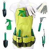 Gartenwerkzeug Schürze Gartenschürze Arbeitsschürze inklusive 5 Werkzeuge und 1 Paar Handschuhe