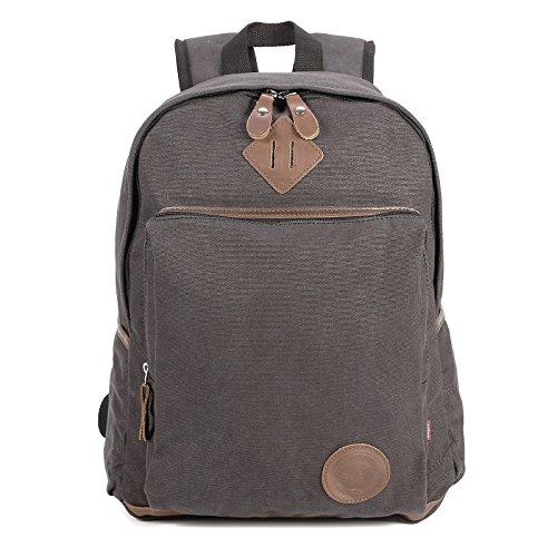 Universal 20L 100%Bauwolle Canvas Schultasche Umhaengetasche Messenger Bag Kahki schwarz