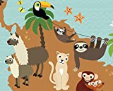 Illustrated world map for children XXL poster animals