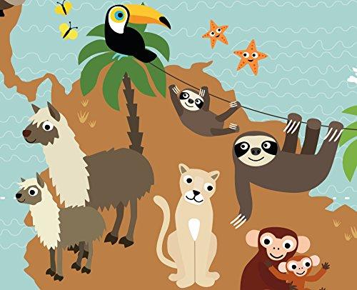 Illustrierte Weltkarte für Kinder mit vielen süßen Tieren XXL 120 x 80 cm Poster