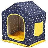 iBasteFR Pet Nest House Bed Pet House and Sofa 2in1 Removable Washable Non-Slip Foldable Soft Warm Dog Cat Puppy Rabbit Pet Nest Cave Bed House with Removable Mattress
