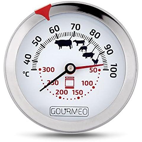 GOURMEO® Termómetro Premium 2-en-1 (Temperatura del horno y carne) de acero / termómetro de asados / termómetro de grill y parrilla / termómetro de horno| con 2 años de garantía de