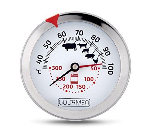 GOURMEO Premium Fleischthermometer 2-in-1 (Fleisch und Ofentemperatur) aus Edelstahl / Bratenthermometer / Grillthermometer / Ofenthermometer | mit 2 Jahren Zufriedenheitsgarantie