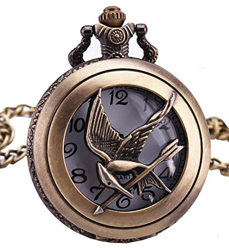 LMP3Creation Fashion Classical Bronze Vintage Retro Antique Look Game Theme Love Bird Hollow hunger games Pocket Watch With Chain (POW-0216)