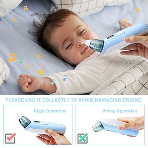 FUNTOK Nasensauger Nasensekretsauger Nasenreinigung Elektrischer Nasal Aspirator für Baby Nasenschleimentferner Nasenpflege für Neugeborene Kleinkinder mit Musik Licht sicher sauber und einfach - 4