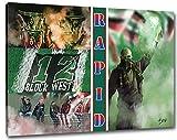 Ultras Rapid Collage, Bild auf Leinwand XXL , fertig gerahmt, 100 x 70 cm