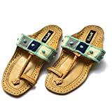 Blue Turquoise Studded Checked Bohemian Style Kolhapuri Chappals/Women Sandals/Ethnic Indian Flip Flops