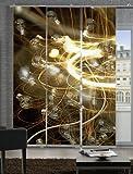 emotiontextiles 3006 Flächenvorhang, Schiebevorhand, Raumteiler 3-er Set Glühwürmchen, 180 x 260 cm, braun/gelb/weiß/grau,