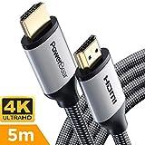 PowerBear Cable HDMI [ 5m ] Cable Ultra-HD (UHD) 4K HDMI 2.0 [18Gbs con Sonido y Ethernet] Conectores Chapados en Oro y Cable HDMI Trenzado con Nylon de Alta Resistencia - [24 Meses de Garantía]