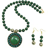 Fashionvalley Green Designer Beads Pendant Beautiful Necklace with Earrings