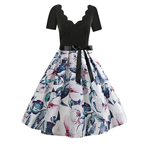 Stretch Denim Tank Dress (Damen elegant 50er Jahre Petticoat Kleider Drucken Abendkleider Rockabilly Kleider Cocktailkleider Ärmellos Kleidung Abendkleider Partykleid Knielang Kleid Mit Gürtel)