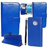 Motorola Moto C Hülle Brieftasche Leder Cover mit Kartenfach - Mobile Stuff Zubehör Etui Portfolio smartphone Motorola Moto C 5.0'' Case Schutzhülle + Stylus (Plain Blue Book)